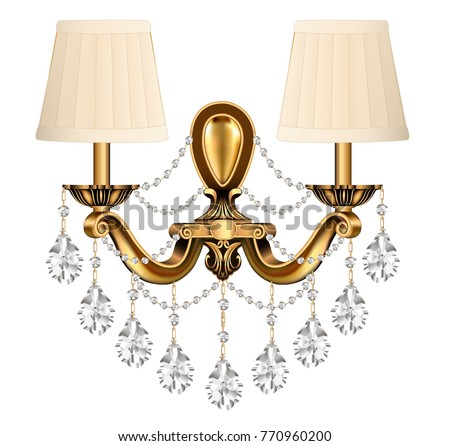 illustration lamp, sconce bronze vintage with crystal pendants on white background