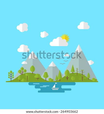 Illustration landscape woods valley hill forest land, nature background in flat style -  vector
