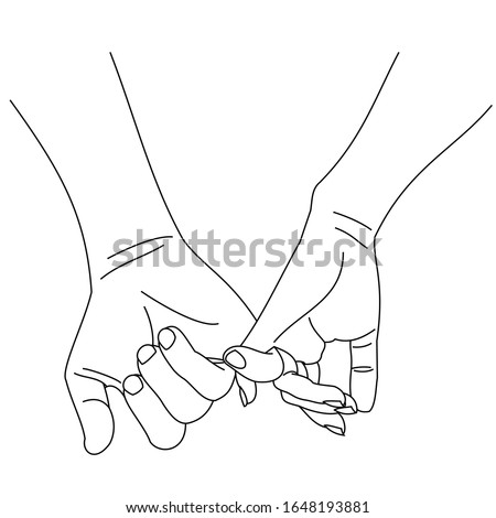 Illustration line drawing a hands making promise as a friendship concept. Loving couple holding hands. Hands of two people hook their little fingers together. Pinkie promise isolated on a white