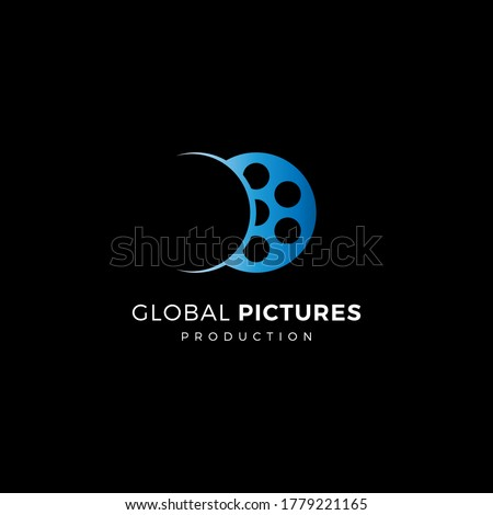 illustration logo vector graphics of world film production, good for logo of filmmakers