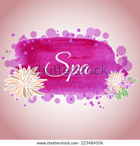 Illustration made using watercolors on spa salon with flowers for your decor
