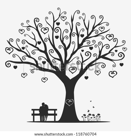 illustration magic tree with a