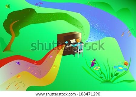 illustration man playing the