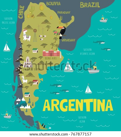 illustration map of argentina