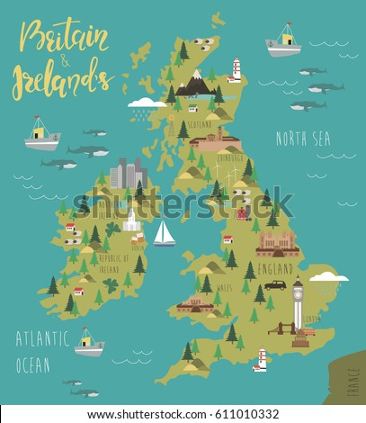 illustration map of britain and