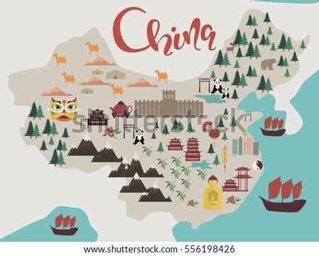 illustration map of china