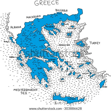 illustration map of Greece