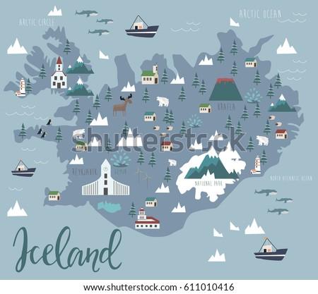 illustration map of iceland