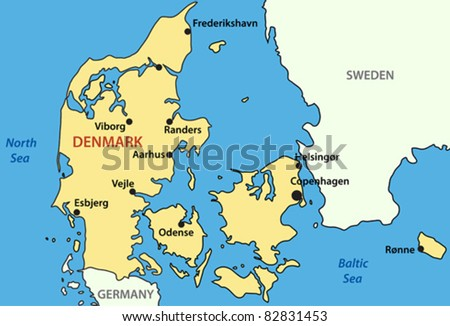 illustration - map of Kingdom of Denmark - vector