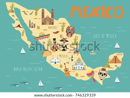 Mexico Map With Traditional Food Vector Download Free Vector Art