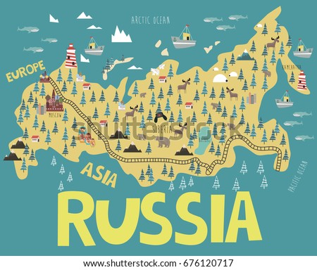 illustration map of russia with