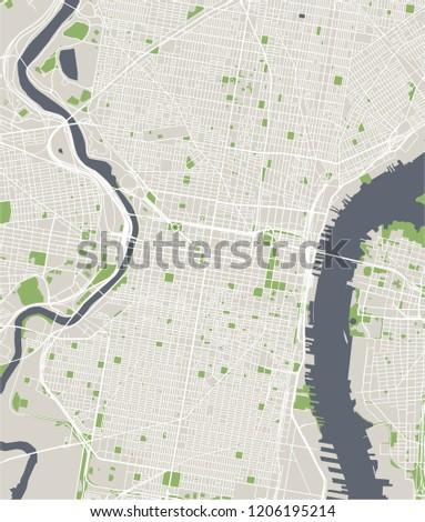 illustration map of the city of Philadelphia, Pennsylvania, USA