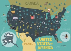 Illustration map of USA with landmarks. Vector illustration