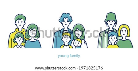 Illustration material of three young families