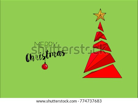 Illustration Merry Christmas greeting card with calligraphy. #774737683