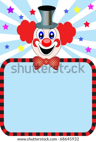 illustration merry clown with paper for invitation