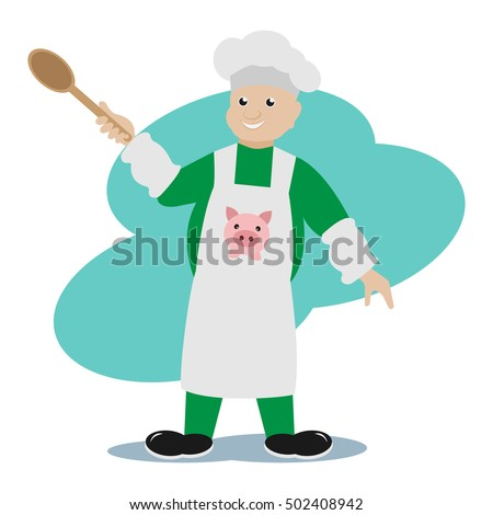 Illustration merry cook with a spoon in his hand. Vector. Cartoons.