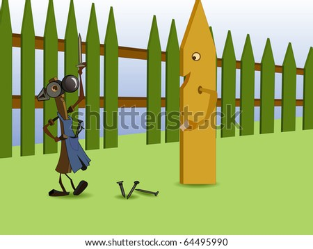 Illustration, merry hammer repair the fence, offering a board to take the empty seat.