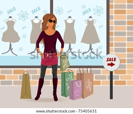 Illustration modern girl loaded with shopping bags - vector