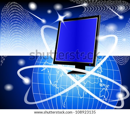 illustration modern powerful computer on background of the globe