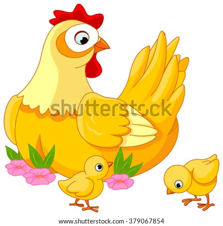 Illustration mother hen with its baby chicks