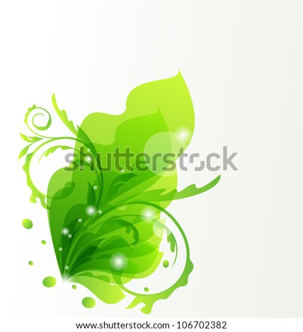 Illustration nature transparent floral background, design elements - vector