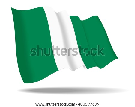 illustration Nigeria flag waving Isolated on White Background,vector