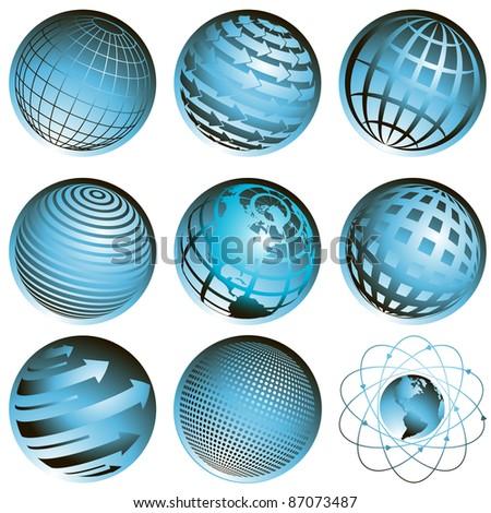 illustration nine blue symbols of the planet on white background