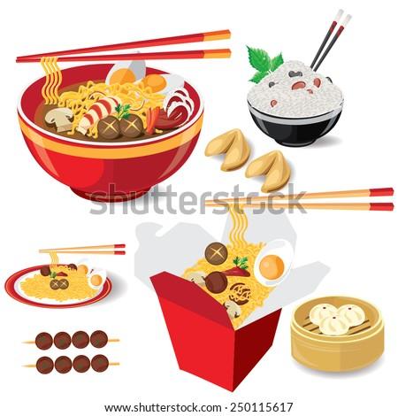 illustration noodle on white