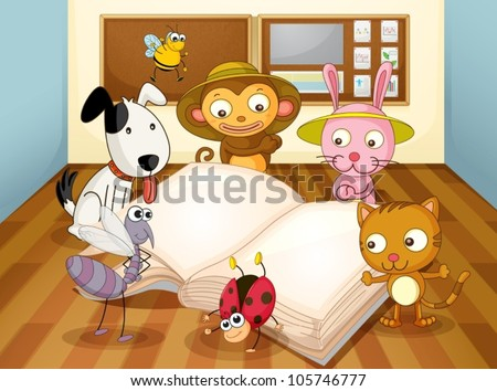 illustration of a animals reading book in classroom