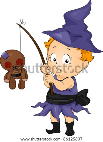 Illustration of a Baby Dressed in a Witch Costume catching a Voodoo Doll