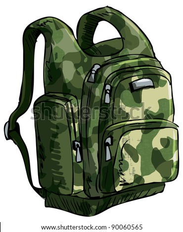 Illustration of a backpack. Isolated one white