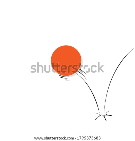 Illustration of a ball bouncing off a surface.  Foto d'archivio ©