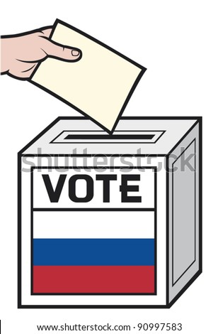 illustration of a ballot box with the flag of the russia. (hand putting a voting ballot in a slot of box).