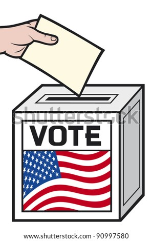 illustration of a ballot box with the flag of the united states of america. (hand putting a voting ballot in a slot of box).