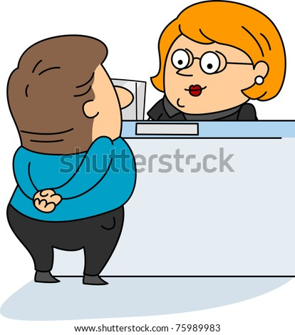 Illustration of a Bank Teller at Work - stock vector