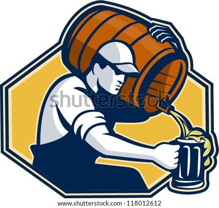 Illustration of a bartender worker with carrying beer barrel keg on shoulder pouring beer into glass mug.
