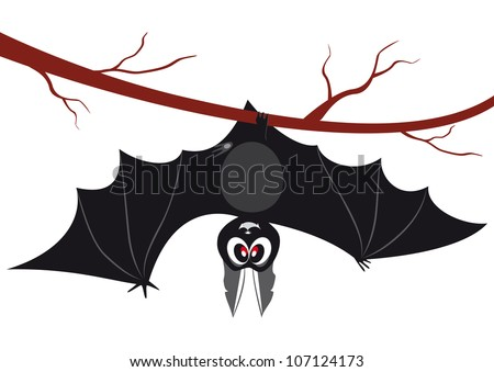 illustration of a bat hanging on a branch - Bat Cartoon