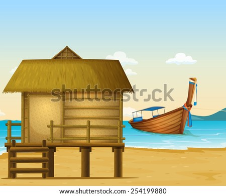illustration of a beach in