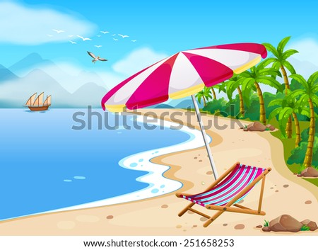 illustration of a beach view