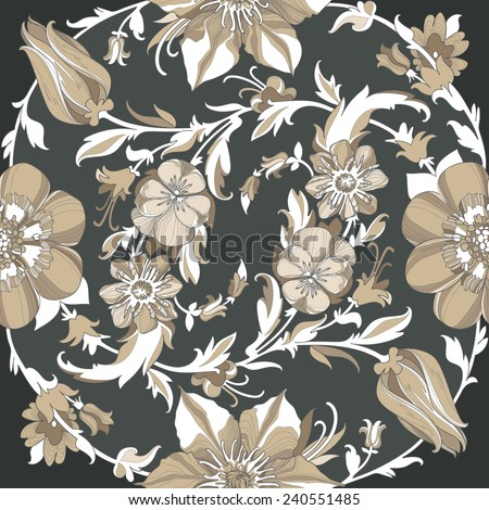 Illustration of a beautiful elegant floral pattern with a high degree of detail. Circular ligature from beige flowers and petals on a dramatic dark background