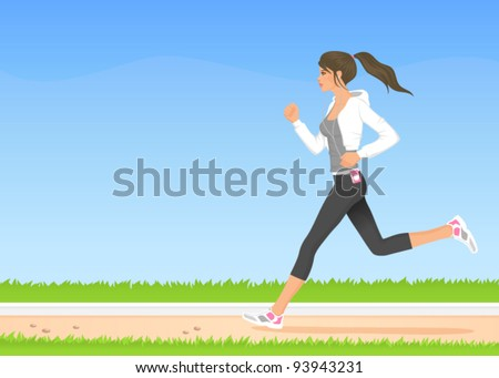 illustration of a beautiful girl in hoodie jogging in the park