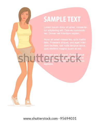 illustration of a beautiful young girl in casual outfit
