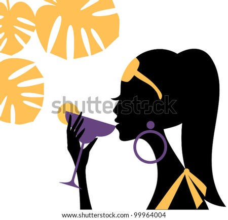 Illustration of a beautiful young woman drinking a refreshing cocktail on a hot summer day. - stock vector