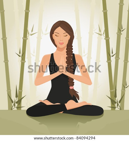 illustration of a beautiful young woman meditating in yoga lotus position