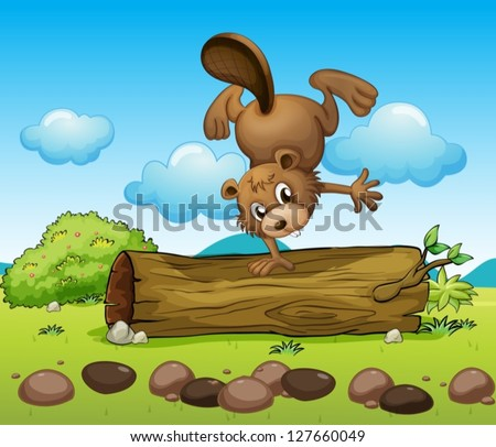 Illustration of a beaver playing alone