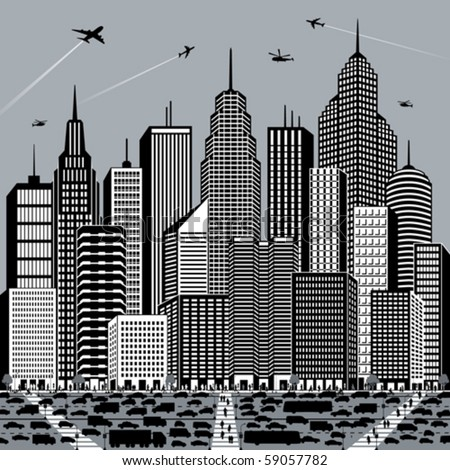 Illustration of a big, busy city.