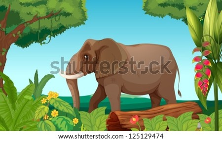 Illustration of a big elephant in the jungle