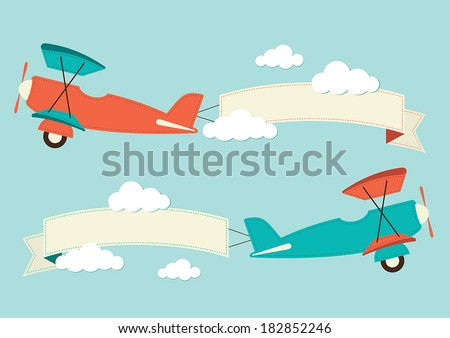 illustration of a biplane with