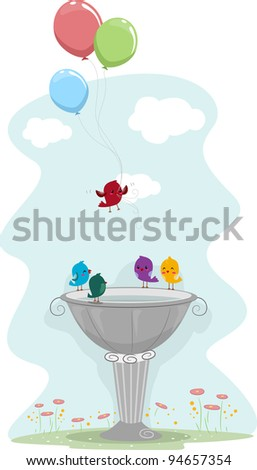 Illustration of a Bird Carrying Balloons